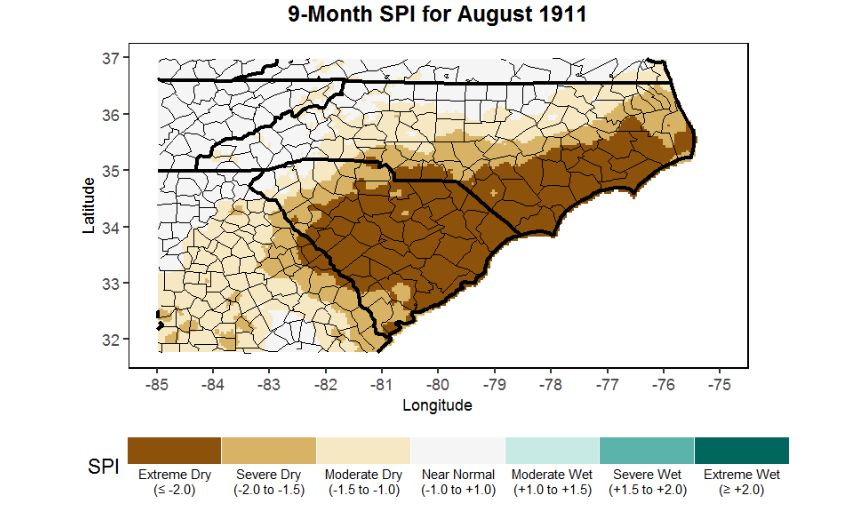 9-Month Standard Precipitation Index map illustrating the extremely dry conditions from coastal South Carolina to Augusta, GA. Data source: 4-km gridded PRISM precipitation dataset.