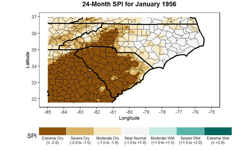 24-month Standard Precipitation Index map for January 1956 showing the significant drought impacts from January 1954 – January 1956. Data source: 4-km gridded PRISM precipitation dataset.