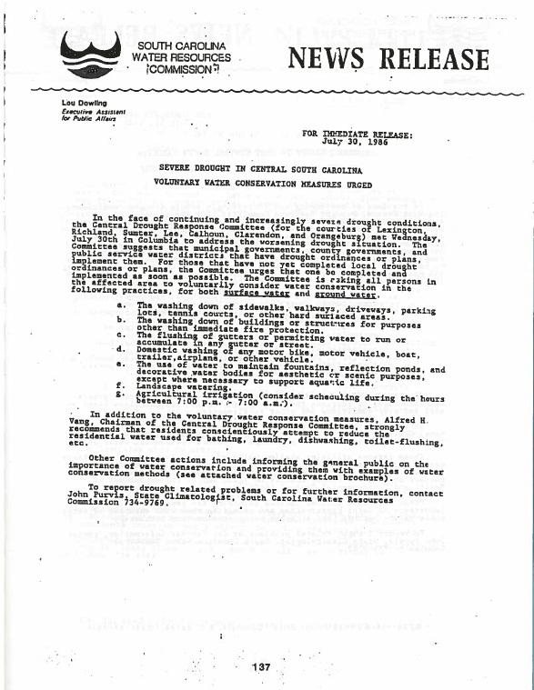 July 30, 1986 news release written by John Purvis, state climatologist, South Carolina Water Resources Commission, explaining the severe drought conditions in central South Carolina and what can be done to help prevent further issues.